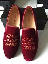 "Merlutti Handmade Velvet Loafers Embroidered ""Always Ambitious"" Size 11M US/44EU"