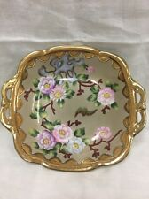 Vintage Nippon Hand Painted Bowl Dish Gold Edging Purple And Pink Flowers