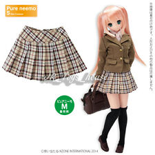 Azone Pureneemo Side Button Pleats Skirt Beige Check Blythe Pullip DAL Obitsu