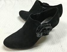 Women's Solid Black Ann Klein Suede Leather Bootie High Heels Flower Size 9M