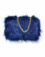 Ladies Fluffy Faux RACCON Fur Elegant Navy Clutch Evening Party Prom bag handbag