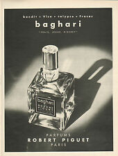 Publicité Advertising 1963  Parfum baghari de ROBERT PIGUET