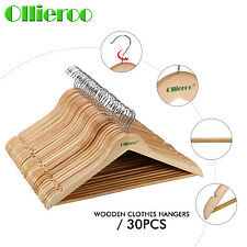 Ollieroo 30 Solid Wooden  Hangers Natural Wood Clothes Coat Suit Dress Pant  Top
