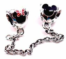 New Disney Pandora Park Exclusive Mickey & Minnie Hearts Safety Chain charm