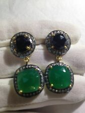 Vintage Real Black And Green Onyx 925 Sterling Silver Chandelier Earrings
