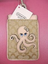NWT Coach ID Lanyard/Badge/Holder CARD CASE Signature Pink/Khaki Octopus 61614