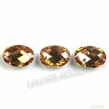 100pcs New Oval Golden Sew-on Faceted Flatback Resin Beads Buttons Fit Crafts J