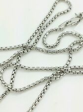 "14k White Gold Round Box Link Necklace Pendant Chain 18"" 1.7mm"