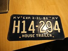 H14 294 = 1984 Kentucky House Trailer License Plate Vintage