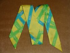 """Hermes """"Bolduc"""" Twilly in Lemon Yellow Background and Green Ribbons"""