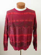 Mens Vintage BIZZARRO ITALY Red Orange Brown Textured Sweater ~ Sz 50 Large (I9)