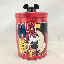 """Disney Mickey Mouse Red 5"""" Metal Gummi Gummy Candy Tin Canister Container"""