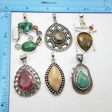 Wholesale LOT !! Gifts Jewelry, 925 Silver Plated 6 Pcs PENDANTS Free Shipping