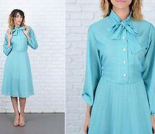 Vintage 80s Mint Polka Dot Dress White Tie Ascot Full A Line medium M