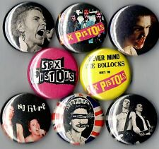 Sex Pistols 8 pins buttons badges sid vicious anarchy nevermind the bollocks