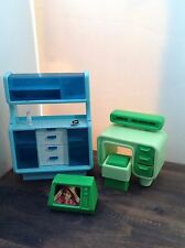 Vintage Barbie Blue 2 Piece Hutch for Mod Era Dream House +TV + Vanity