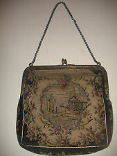 Antique Petit Point Purse Handbag with chain scene jeweled clasp