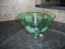 FTD Florist Green Glass Vase/Compote w/ White Snowflakes