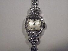 Authentic Vintage Omega Platinum Ladies Wrist Watch with 48 Diamonds on 14K Band