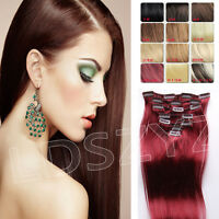 """NEW Clip In Remy Human Hair Extensions Any Colors US Full Head 14""""18""""20""""28"""" 7PCS"""