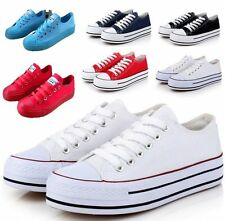 Womens Girls Platform Creeper Heels Classic Lace Canvas Sneakers US8=EUR39 White