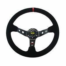 Red stripe14inch 350mm Suede Leather OMP Deep Dish Corn Drifting Steering Wheel