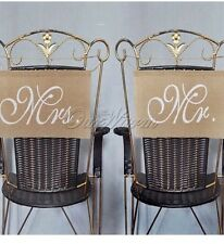 Mr And Mrs Hessian Wedding Chair Banners / Bunting. Shabby Chic, Vintage