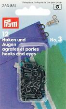 Prym Federhaken Haken und Augen Nr. 3 schwarz 12 St zum Annähen 263851