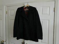 Structure ,Mens ,Pea Coat ,Size L, Made in Italy , Lined ,Dark Blue / Red Lining