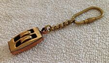 VINTAGE QUALITY BRASS AND COPPER SHIP'S ROPE BLOCK KEY RING