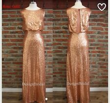 Rose Gold Long Sequin Bridesmaid Party Evening Prom Dress Gatsby Theme