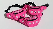 Neon Pink Bum Bag, Fanny Pack - Daisy, Flowers, Studs - Festival, 90's, Retro