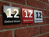 MODERN HOUSE SIGN PLAQUE DOOR NUMBER STREET ROAD GLASS NAME - Black Red White