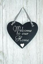 Heart Plaque Welcome to our Home Black & White Small Sign F0605