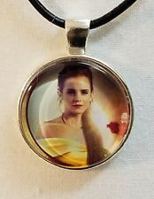 "Disney's ""BEAUTY AND THE BEAST, BELLE"" Glass Pendant with Leather Necklace"