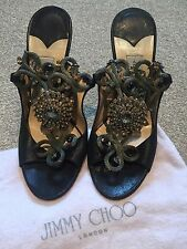 AUTHENTIC JIMMY CHOO SANDALS SHOES BLACK JEWELLED UK 4.5 4 1/2 Eu 37 1/2 WORNONE