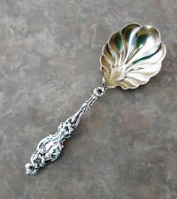 Lily Pattern Sterling By Whiting Jelly Serving Spoon  With Gold Wash Bowl Nice