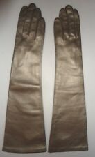"""Ladies Fownes 17"""" Long 100% Silk Lined Genuine Leather Gloves,M/L,Gold"""