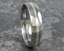 Titanium Band & Sterling Silver Inlay Ring Custom Made to ANY Sizing 3-22