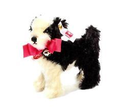 """STEIFF """"SUMMER MOLLY"""" EAN 673887 BLACK/WHITE MOHAIR STANDING DOG W/PINK BOW/BELL"""