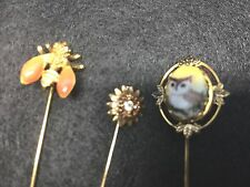 Vintage Gold Tone Stick Pins Owl Butterfly Flower Lot of 3