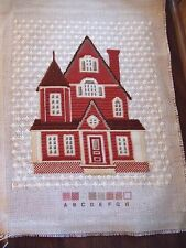 "FINISHED Needlepoint Cross Stitch Kit VICTORIAN HOUSE Ready to Frame 13"" Tall"