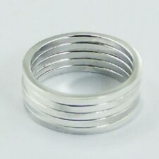 Silver ring stackable 925 silver stack of 5 rings in each set size 9us brand new