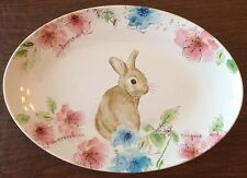 222 FIFTH Bastia Easter Bunny  OVAL SERVING PLATTER New Floral Rare Plate
