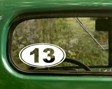 Number 13 Decal Sticker Bad Luck Funny 2 Ovals Vinyl Die Cut, Car, Laptop