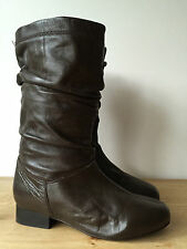 SHOE TAILOR LADIES BROWN LEATHER MID CALF SLOUCH WIDE CALF BOOTS UK5
