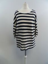 Bhs Navy and Cream Stripe Jumper Top Size 10 Box4238 A