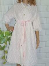 M 1970 Vintage Quilted Robe Housecoat Empire Waist Lace over Nylon Button Front