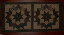 "NORTH STAR TEA DYED QUILT DOUBLE BLOCK TABLE RUNNER or WALLHANGING 12"" x 23"""
