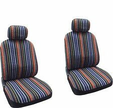 Baja Blue Colorful Stripes Design Front Seat Covers CSS6
